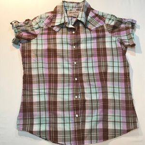 Wrancher by Wrangler plaid button top size 8 $